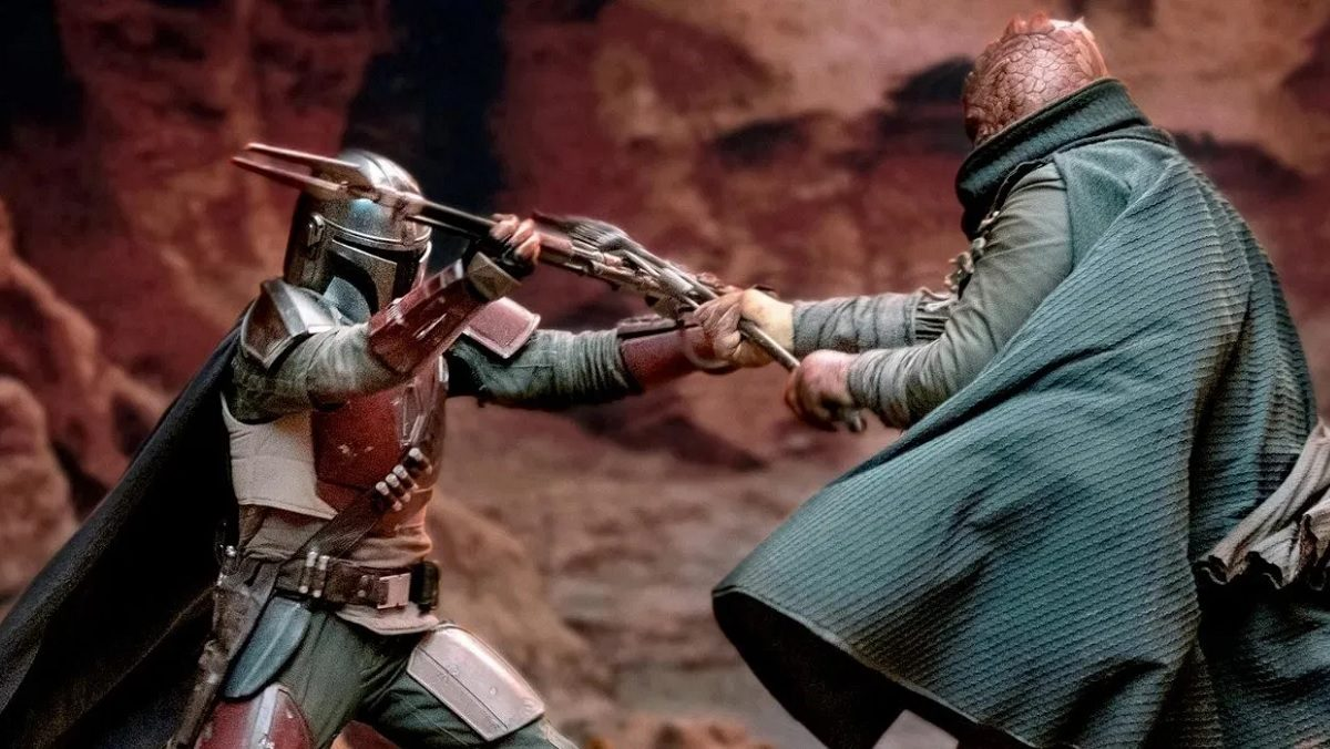 the mandalorian fight trandoshan